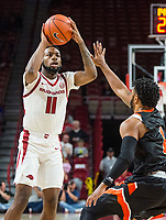 NWA Democrat-Gazette/BEN GOFF @NWABENGOFF <br /> Keyshawn Embery-Simpson of Arkansas shoots in the first half vs Tusculum Friday, Oct. 26, 2018, during an exhibition game in Bud Walton Arena in Fayetteville.