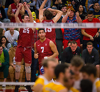 STANFORD, CA - March 10, 2018: Jake Stuebner, Jacob Thoenen, Mason Tufuga at Burnham Pavilion. UC Irvine defeated the Stanford Cardinal, 3-0.