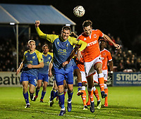 Blackpool's Ben Heneghan competing with Solihull Moors' Liam Daly<br /> <br /> Photographer Andrew Kearns/CameraSport<br /> <br /> The Emirates FA Cup Second Round - Solihull Moors v Blackpool - Friday 30th November 2018 - Damson Park - Solihull<br />  <br /> World Copyright © 2018 CameraSport. All rights reserved. 43 Linden Ave. Countesthorpe. Leicester. England. LE8 5PG - Tel: +44 (0) 116 277 4147 - admin@camerasport.com - www.camerasport.com