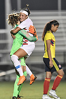 Lakewood Ranch, FL - Wednesday, October 10, 2018:   Julia Dohle, Maya Doms, celebration during a U-17 USWNT match against Colombia.  The U-17 USWNT defeated Colombia 4-1.