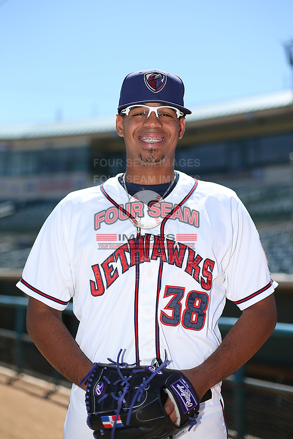 Salvador Justo (38) of the Lancaster JetHawk poses for a photo during media day at The Hanger on April 3, 2017 in Lancaster, California. (Larry Goren/Four Seam Images)