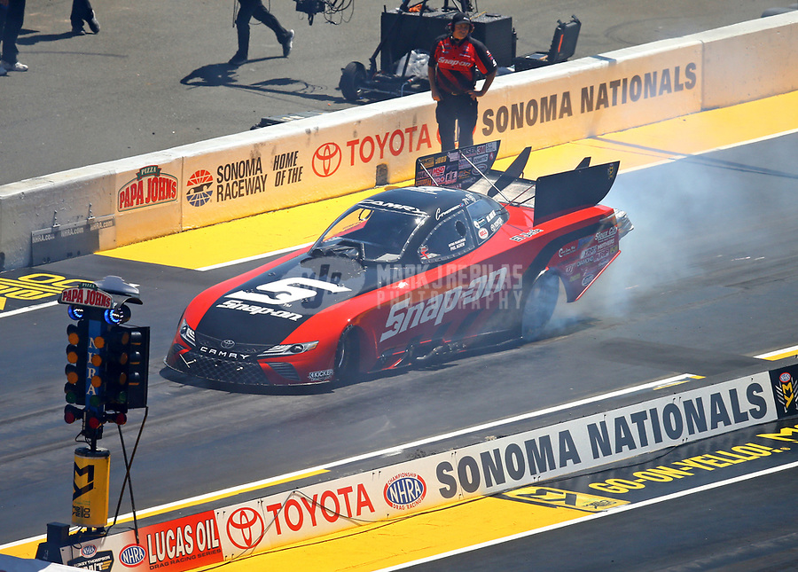 Jul 30, 2017; Sonoma, CA, USA; NHRA funny car driver Cruz Pedregon during the Sonoma Nationals at Sonoma Raceway. Mandatory Credit: Mark J. Rebilas-USA TODAY Sports