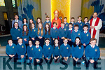 The 6th class students of Scoil Eoin Balloonagh who were Confirmed in Our Lady & St. Brendan's Church on Friday. By Bishop Ray Browne. Pictured Robert Kennedy, Confirmation Class with PP Fr. Padraig Walsh