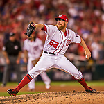 7 October 2017: Washington Nationals pitcher Sean Doolittle on the mound in the second game of the NLDS against the Chicago Cubs at Nationals Park in Washington, DC. The Nationals rallied to defeat the Cubs 6-3 and even their best of five Postseason series at one game apiece. Mandatory Credit: Ed Wolfstein Photo *** RAW (NEF) Image File Available ***