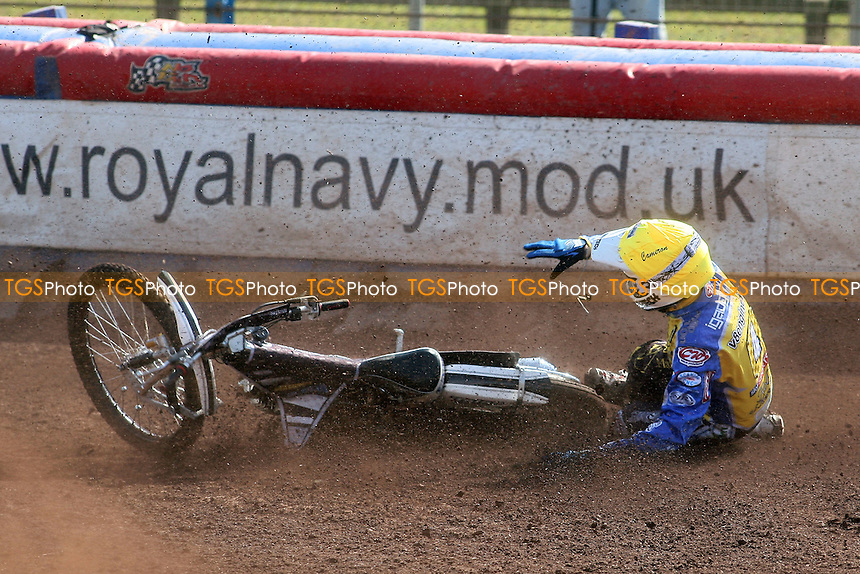 Heat 3: Cameron Woodward of Eastbourne crashes out - Lakeside Hammers vs Eastbourne Eagles - Sky Sports Elite League Speedway at Arena Essex Raceway, Purfleet - 06/04/12 - MANDATORY CREDIT: Gavin Ellis/TGSPHOTO - Self billing applies where appropriate - 0845 094 6026 - contact@tgsphoto.co.uk - NO UNPAID USE.