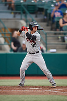 Tri-City ValleyCats Korey Lee (35) at bat during a NY-Penn League game against the Brooklyn Cyclones on August 17, 2019 at MCU Park in Brooklyn, New York.  The game was postponed due to inclement weather, Brooklyn defeated Tri-City 2-1 in the continuation of the game on August 18th.  (Mike Janes/Four Seam Images)