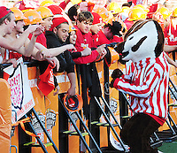 Bucky Badger works the crowd during ESPN Gameday at Camp Randall Stadium before the Wisconsin / Ohio State football game on Saturday, 10/16/10 in Madison, Wisconsin
