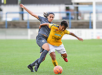 20190813 - DENDERLEEUW, BELGIUM : PAOK's Grigoria Pouliou (left) pictured in a fight for the ball with LSK's Meryll Abrahamsen (r) during the female soccer game between the Greek PAOK Thessaloniki Ladies FC and the Norwegian LSK Kvinner Fotballklubb Ladies , the third and final game for both teams in the Uefa Womens Champions League Qualifying round in group 8 , Tuesday 13 th August 2019 at the Van Roy Stadium in Denderleeuw  , Belgium  .  PHOTO SPORTPIX.BE for NTB | DAVID CATRY