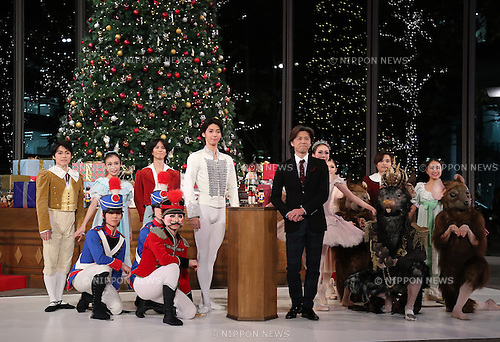 """November 10, 2016, Tokyo, Japan - Tetsuya Kumakawa, Japanese ballet dancer and director of the K Ballet Company and his dancers attend the light-up ceremony of a large Christmas tree at the Marunouchi building in Tokyo on Thursday, November 10, 2016. The Marunouchi area started illumination and decoration with motif of ballet dance Tchaikovsky's """"Nutcracker"""" through the Christmas Day.  (Photo by Yoshio Tsunoda/AFLO) LWX -ytd-"""