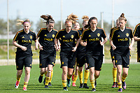 20180303 - LARNACA , CYPRUS :  illustration picture shows the group with Jana Coryn , Nicky Van Den Abbeele , Janice Cayman , Lenie Onzia and Yana Daniels (r) warming up during a Matchday -2 training from The Belgian Red Flames prior to their game against Austria , on Saturday 3 March 2018 at the Alpha Sports Grounds in Larnaca , Cyprus . This will be the third game in group B for Belgium during the Cyprus Womens Cup , a prestigious women soccer tournament as a preparation on the World Cup 2019 qualification duels. PHOTO SPORTPIX.BE | DAVID CATRY