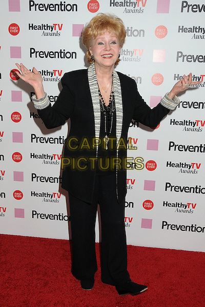 "Debbie Reynolds.Prevention Magazine Presents the Inaugural ""Prevention Healthy TV Awards"" held at The Paley Center for Media, Beverly Hills, California, USA..September 27th, 2011.full length black grey gray lapel suit hands arm.CAP/ADM/BP.©Byron Purvis/AdMedia/Capital Pictures."