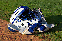 A catchers mask and chest protector sit on the field before the Pioneer League game between the Ogden Raptors ands Great Falls Voyagers at Lindquist Field on August 16, 2013 in Ogden Utah.  (Stephen Smith/Four Seam Images)