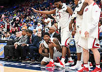 NWA Democrat-Gazette/CHARLIE KAIJO Arkansas Razorbacks players react following a three-pointer during the Southeastern Conference Men's Basketball Tournament, Thursday, March 8, 2018 at Scottrade Center in St. Louis, Mo.