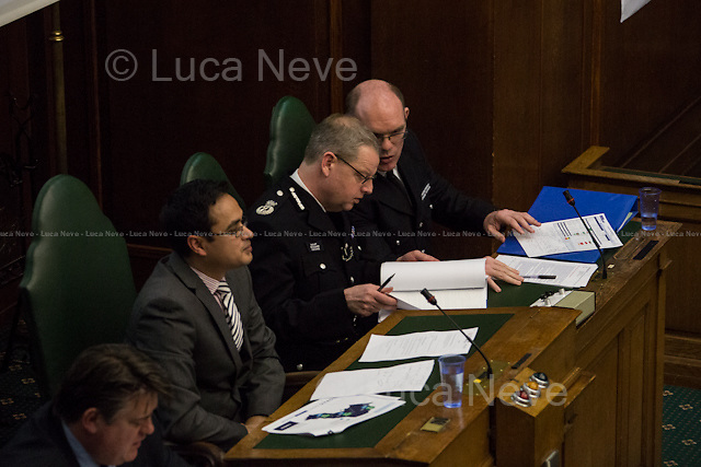 (From R to L) Richard Tucker, Simon Byrne, Abdul Hai &amp; Stephen Greenhalgh.<br /> <br /> London, 06/03/2014. MOPAC (Mayor's Office for Policing and Crime) meeting at Camden Town Hall, it is part of the 15 dates for the 2014 borough roadshow. The public meeting was hosted by Stephen Greenhalgh (Deputy Mayor for Policing and Crime), Simon Byrne (Assistant Commissioner in the Metropolitan Police Service, responsible for Territorial policing) and Richard Tucker (Detective Chief Superintendent, Borough Commander for Camden in the Metropolitan Police Service). Chair of the event was Councillor Abdul Hai (Labour Cabinet Member for Community Safety in Camden).
