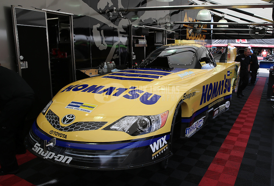 Apr. 7, 2013; Las Vegas, NV, USA: The car of NHRA funny car driver Tony Pedregon in the pits during the Summitracing.com Nationals at the Strip at Las Vegas Motor Speedway. Mandatory Credit: Mark J. Rebilas-