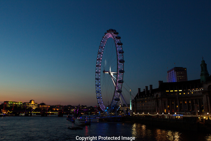 The London Eye is a giant Ferris wheel on the South Bank of the River Thames in London, England. The entire structure is 135 metres tall and the wheel has a diameter of 120 metres
