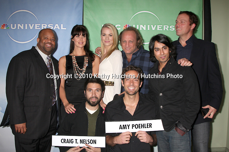 Mark Christopher Lawrence, Sarah Lancaster, Yvonne Strahovski, Scott Krinsky, Adam Baldwin, Joshua Gomez, Zachary Levi, and Vik Sahay.arriving at the 2010 Winter NBC TCA Party .Langford Hotel.Pasadena, CA.January 10, 2010.©2010 Kathy Hutchins / Hutchins Photo....