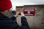 A 'groundhopper'  taking a photograph of a sign outside Ferguson Park, Rosewell, before Whitehill Welfare take on Gala Fairydean Rovers in a Scottish Lowland League fixture, which the home team won 3-0. The match was one of six arranged by the league and GroundhopUK over the weekend to accommodate groundhoppers, fans who attempt to visit as many football venues as possible. Around 100 fans in two coaches from England participated in the 2016 Lowland League Groundhop and they were joined by other individuals from across the UK which helped boost crowds at the six featured matches.