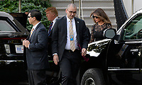 President Donald Trump and Melania Trump depart for dinner with Vice President Mike Pence and Karen