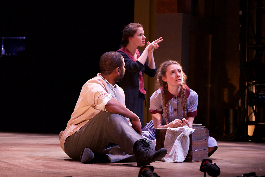 Interpreter is Emma Stephenson '16; Mother Hicks, an EmStage production, incorporated sign language throughout the play. There are three Emerson students, in dark dresses, who are assigned multiple actors and sign their part alongside them. One of the actors is also deaf and the lighting team has incorporated a green light so he knows when to go and a red light so he knows when to stop.
