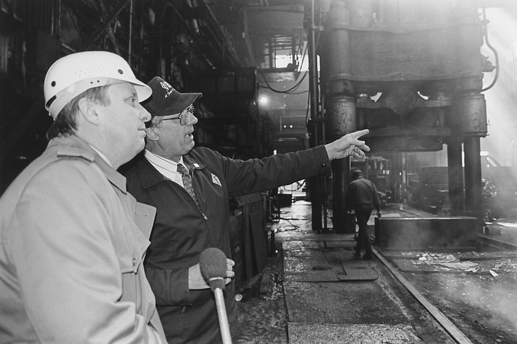 Rep. Dick Durbin, D-Ill., was given a tour of the 'Melt Down' area by Steve Wittek, Vice President of operations at the Finkle Steel Mill, on March 18, 1996. (Photo by Laura Patterson/CQ Roll Call via Getty Images)