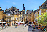 The principal square of Sarlat-la-Canéda, a large town in the Dordogne region.