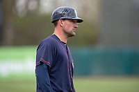 Cedar Rapids Kernels manager Brian Dinkelman (12) during a Midwest League game against the Kane County Cougars at Northwestern Medicine Field on April 28, 2019 in Geneva, Illinois. Cedar Rapids defeated Kane County 3-2 in game two of a doubleheader. (Zachary Lucy/Four Seam Images)
