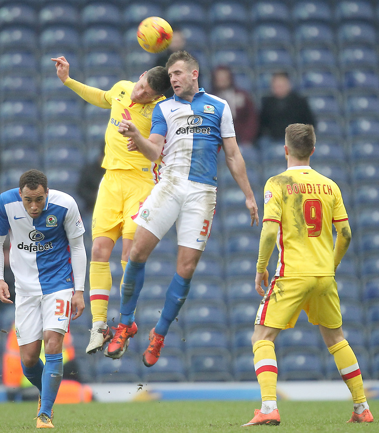 Blackburn Rovers Tommy Spurr Milton Keynes Dons Alex Revell<br /> <br /> Photographer Mick Walker/CameraSport<br /> <br /> Football - The Football League Sky Bet Championship - Blackburn Rovers v Milton Keynes Dons - Saturday 27th February 2016 - Ewood Park - Blackburn<br /> <br /> &copy; CameraSport - 43 Linden Ave. Countesthorpe. Leicester. England. LE8 5PG - Tel: +44 (0) 116 277 4147 - admin@camerasport.com - www.camerasport.com