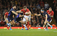 Wales' George North looks for a way through the Scottish defence <br /> <br /> Photographer Ian Cook/CameraSport<br /> <br /> Under Armour Series Autumn Internationals - Wales v Scotland - Saturday 3rd November 2018 - Principality Stadium - Cardiff<br /> <br /> World Copyright &copy; 2018 CameraSport. All rights reserved. 43 Linden Ave. Countesthorpe. Leicester. England. LE8 5PG - Tel: +44 (0) 116 277 4147 - admin@camerasport.com - www.camerasport.com