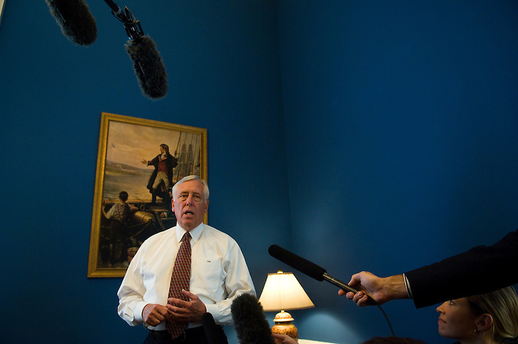 "WASHINGTON, DC - Oct. 01: House Majority Leader Steny Hoyer, D-Md., during a news conference in his office on the financial crisis. The Senate, in a high-stakes gamble, plans to vote Wednesday night on a massive financial rescue plan, after attaching a tax-break package and adding higher insurance limits for bank deposits. With leaders of both parties pushing for passage and the rival presidential candidates returning to Washington to lend their support, the combined bill is expected to pass with a substantial majority in the Senate. Whether the latest version will fare better in the House than the bill defeated two days ago remains to be seen. But it appeared that the Senate add-ons, coupled with a regulatory change easing corporate accounting rules for valuing frozen assests, could give some House Republicans a reason for switching their votes from ""no"" to ""yes.""  (photo by Scott J. Ferrell/Congressional Quarterly)."