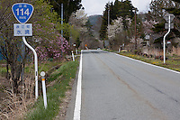 Route 114 near Yamakiya on the borders of the exclusion zone in rural Fukushima, Japan. Wednesday May 5th 2011. A 20 kilometre exclusion zone was set up on April 22nd to limit exposure to radiation from the Fukushima Daichi nuclear power station that was damaged in the earthquake and tsunami of March 11th.