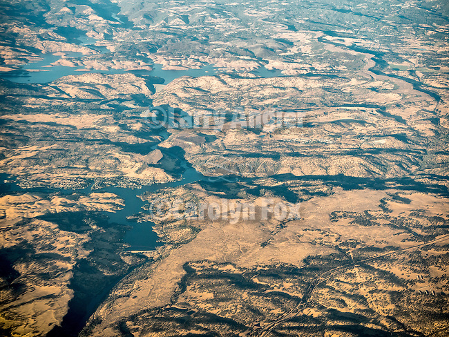Melones and Tullock Reservoirs on the Stanislaus River, California, from a window seat above.