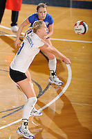 20 November 2008:  Middle Tennessee outside hitter Izabela Kozon (9) returns the ball during the Middle Tennessee 3-0 victory over Arkansas State in the first round of the Sun Belt Conference Championship tournament at FIU Stadium in Miami, Florida.
