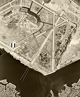 Historical aerial photograph of John F. Kennedy International Airport while it was still known Anderson Field, Jamaica, Queens, New York City, 1954