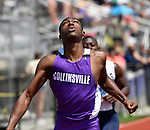 Jermarrion Stewart of Collinsville crosses the finish line as he wins the 100 meter dash at the Collinsville Invitational Boys Track & Field Meet on Saturday May 5, 2018. Tim Vizer | Special to STLhighschoolsports.com