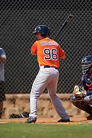 Houston Astros catcher Jake Rogers (96) during an Instructional League game against the Atlanta Braves on September 26, 2016 at Osceola County Stadium Complex in Kissimmee, Florida.  (Mike Janes/Four Seam Images)