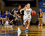 BROOKINGS, SD - NOVEMBER 21: South Dakota State Jackrabbits guard Lindsey Theuninck #3 pushes the ball up court against Montana State during their game Thursday night at Frost Arena in Brookings, SD.   (Photo by Dave Eggen/Inertia)