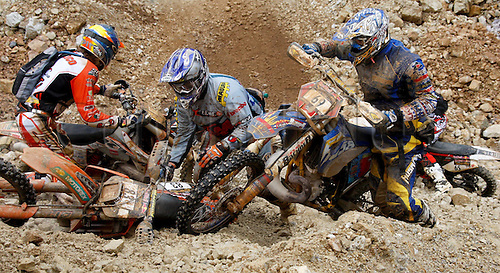10.06.2012. Iron Ore Mountain, Austria.  Motocross Erzberg Rodeo 2012 Iron ore Austria  Motorcycle Motocross Erzbergrodeo 2012 Picture shows riders as they crash their bikes and get tangled up