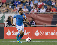 Foxborough, Massachusetts - July 6, 2016: In a Major League Soccer (MLS) match, New York City FC (blue/white) defeated  New England Revolution (red), 1-0, at Gillette Stadium.