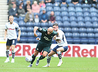 Newcastle United's Jonjo Shelvey battles with Preston North End's Alan Browne<br /> <br /> Photographer Stephen White/CameraSport<br /> <br /> Football Pre-Season Friendly - Preston North End v Newcastle United - Saturday July 27th 2019 - Deepdale Stadium - Preston<br /> <br /> World Copyright © 2019 CameraSport. All rights reserved. 43 Linden Ave. Countesthorpe. Leicester. England. LE8 5PG - Tel: +44 (0) 116 277 4147 - admin@camerasport.com - www.camerasport.com