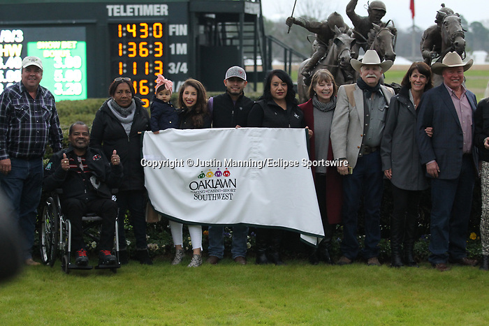 February 17, 2020: The winners circle after the running of the Southwest Stakes at Oaklawn Racing Casino Resort in Hot Springs, Arkansas on February 17, 2020. Justin Manning/Eclipse Sportswire/CSM
