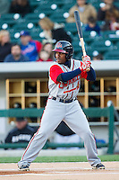 Jose Constanza (12) of the Gwinnett Braves at bat against the Charlotte Knights at BB&T Ballpark on April 16, 2014 in Charlotte, North Carolina.  The Braves defeated the Knights 7-2.  (Brian Westerholt/Four Seam Images)
