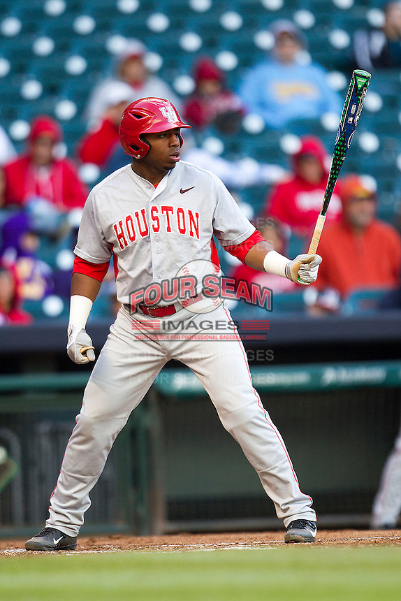 Houston Cougars third baseman Jonathan Davis #40 at bat against the Baylor Bears in the NCAA baseball game on March 2, 2013 at Minute Maid Park in Houston, Texas. Houston defeated Baylor 15-4. (Andrew Woolley/Four Seam Images).