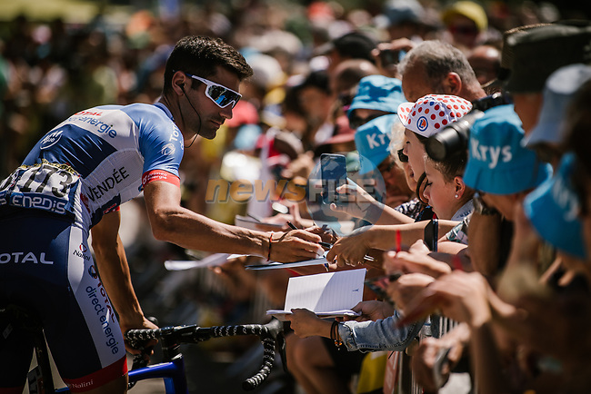 Fabien Grellier (FRA) Total Direct Energie with fans at sign on before Stage 5 of the 2019 Tour de France running 175.5km from Saint-Die-des-Vosges to Colmar, France. 10th July 2019.<br /> Picture: ASO/Pauline Ballet   Cyclefile<br /> All photos usage must carry mandatory copyright credit (© Cyclefile   ASO/Pauline Ballet)