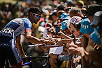 Fabien Grellier (FRA) Total Direct Energie with fans at sign on before Stage 5 of the 2019 Tour de France running 175.5km from Saint-Die-des-Vosges to Colmar, France. 10th July 2019.<br /> Picture: ASO/Pauline Ballet | Cyclefile<br /> All photos usage must carry mandatory copyright credit (© Cyclefile | ASO/Pauline Ballet)