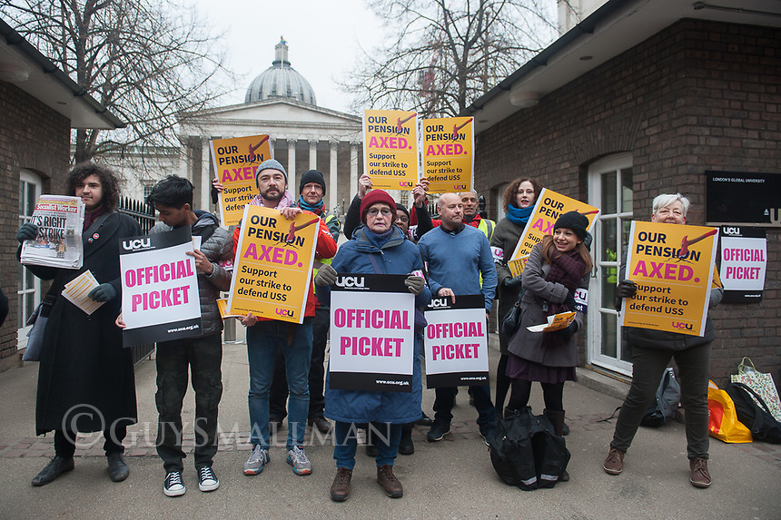 Members of the UCU education trade union go on strike over pay & pension cuts. 22-2-18