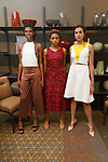 Models pose in outfits by Gina Silva during the New York School of Design Spring Summer 2018 fashion show presentation at Calligaris on 55 Thompson Street on September 7, 2017 during New York Fashion Week.