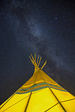 USA, Nevada, Wells, a view of the tipis and star covered sky at Mustang Monument, A sustainable luxury eco friendly resort and preserve for wild horses, Saving America's Mustangs Foundation