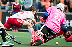 AMSTELVEEN - Harry Martin (Eng) with keeper Tobias Walter (Ger)  during the poulematch England v Germany (men) 3-4,Rabo Eurohockey Championships 2017.  WSP COPYRIGHT KOEN SUYK