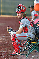 Billings Mustangs catcher Cassidy Brown (39) sits in the bullpen before the game against the Orem Owlz in Game 2 of the Pioneer League Championship at Home of the Owlz on September 16, 2016 in Orem, Utah. Orem defeated Billings 3-2 and are the 2016 Pioneer League Champions. (Stephen Smith/Four Seam Images)